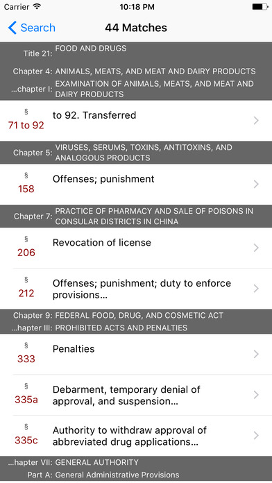 Food and Drugs (Title 21 United States Code) iPhone Screenshot 5