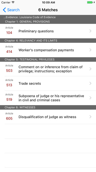 Louisiana Code of Evidence (LA Law) iPhone Screenshot 5