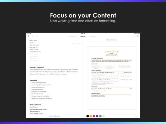 ipad screenshot 2 - Resume Builder App