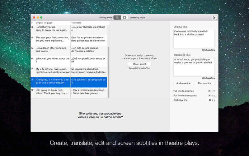 Subtitles for theatre for Mac