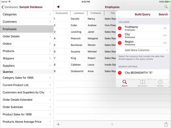 MySQL Mobile Database Client Screenshots