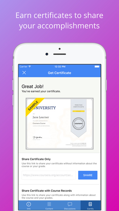 Screenshots of Coursera: Online courses for iPhone