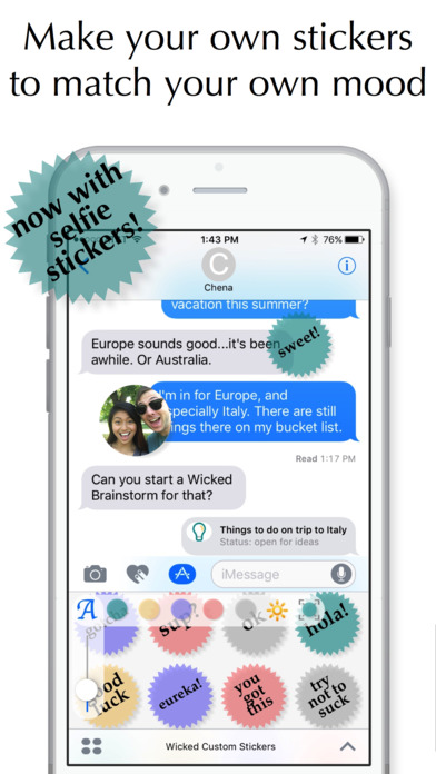 Wicked Custom Stickers Introduces Selfie Creation to iMessage Image