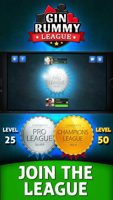 Gin Rummy League Games free for iPhone/iPad screenshot