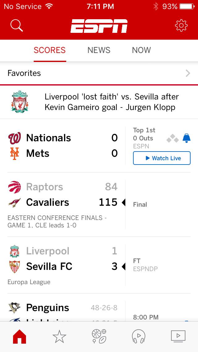 Screenshots of ESPN for iPhone