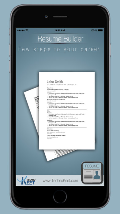 iphone screenshot 1 - Easy Resume Builder Free