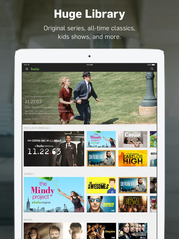 Screenshots of Hulu: Watch latest episodes of your favorite hit TV Shows, stream kids movies & comedy films for iPad