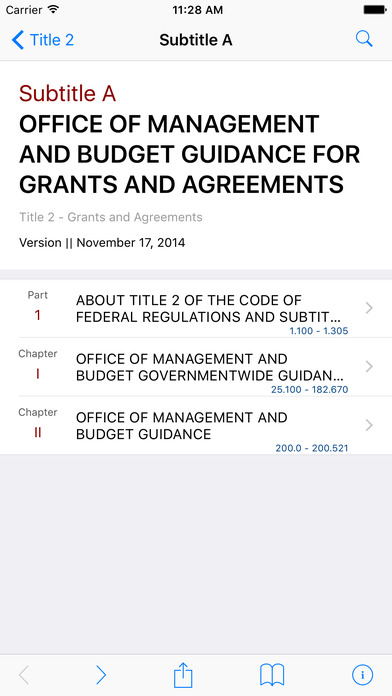 Title 2 Code of Federal Regulations - Grants and Agreements iPhone Screenshot 2