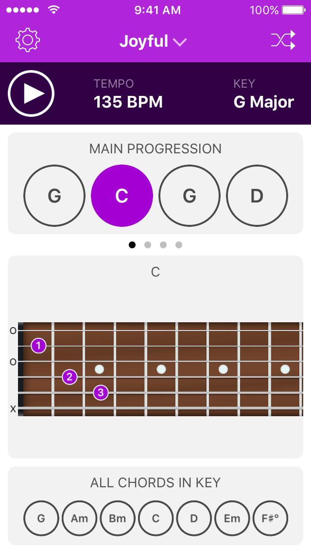 Guitar chord progression generator