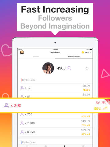 Screenshots of Get Free Followers & Likes for Instagram - 10000 Video Views Boost on Imstagram for iPad