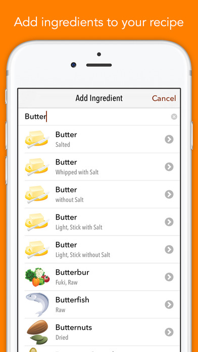 Screenshot #5 for Nutrients - Nutrition facts for foods and recipes