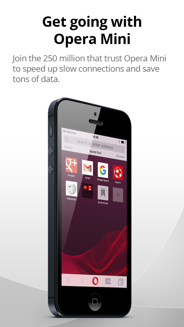 Screenshots of Opera Mini for iPhone