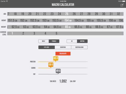 Macro Calculator - Macronutrient Finder using Mifflin-St Jeor Formula Screenshots