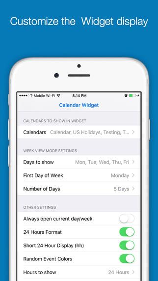 Week Cal Widget for iOS calendar Screenshots