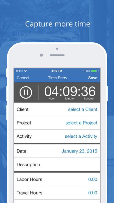 Bill4Time Mobile iPhone Screenshot 1