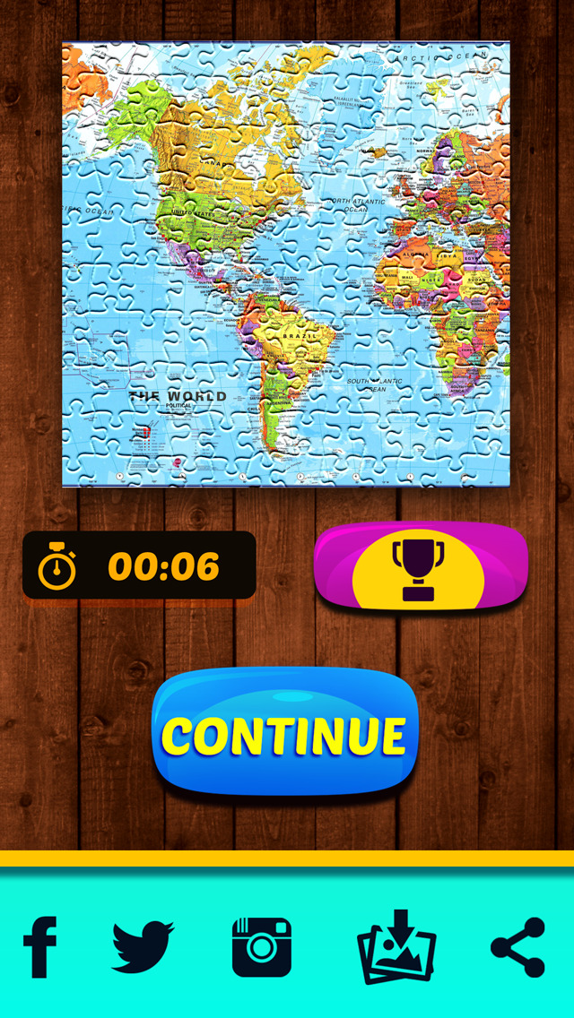 World map jigsaw puzzle for kids and adults learning game screenshots iphone ipod gumiabroncs Choice Image