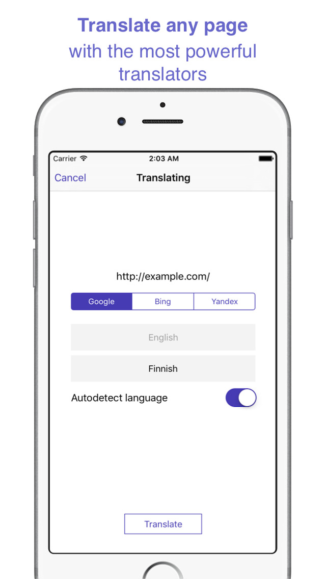 how to translate web page in safari