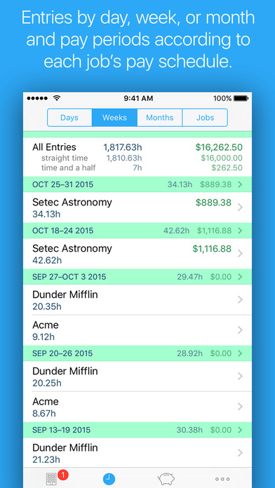 HoursTracker Lite - Timesheet iPhone Screenshot 2