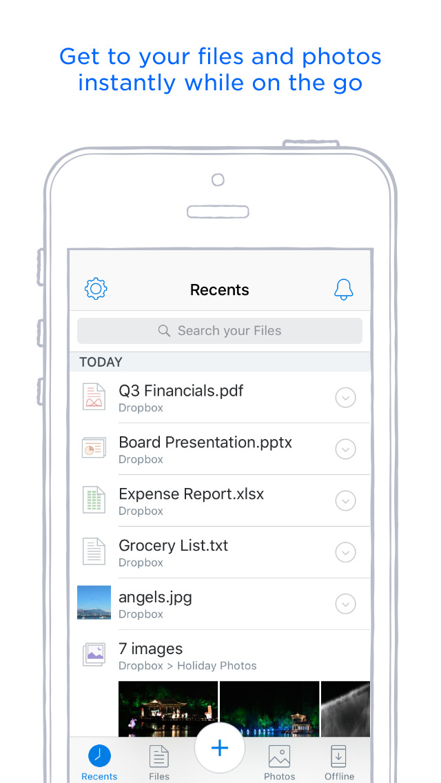 Screenshots of Dropbox for iPhone