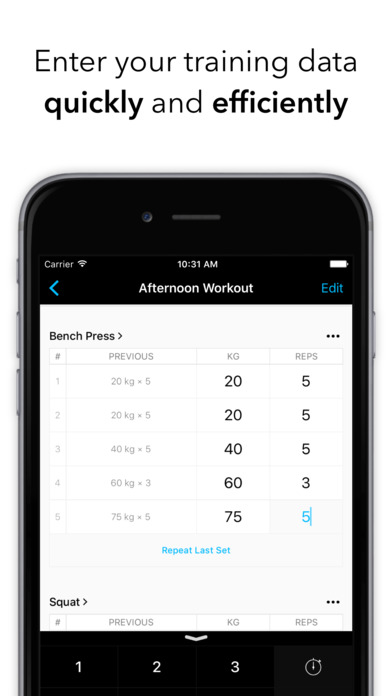 Strong - Workout Tracker and Training Log for Bodybuilding, Weightlifting, Fitness and Strength Routines screenshot