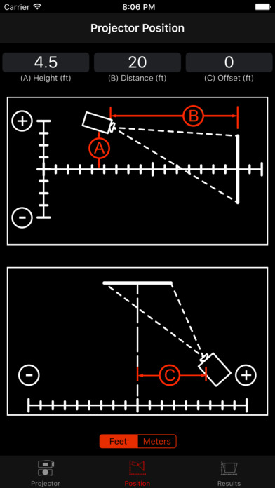ProjectorCalc iPhone Screenshot 2