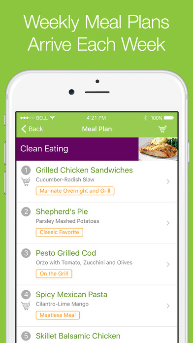 Emeals meal planning and grocery shopping list on the for Plan app