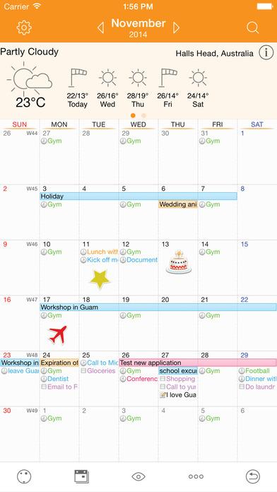 Awesome Calendar Lite(+ToDos, Notes, sync with Google Calendar) iPhone Screenshot 1