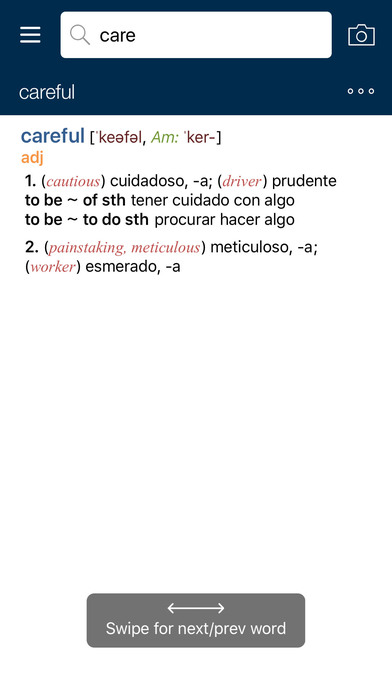 PONS Compact Dictionary Spanish <-> English iPhone Screenshot 3