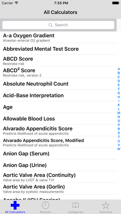 MediMath Medical Calculator iPhone Screenshot 1