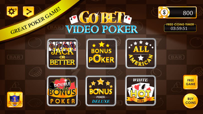 Screenshot 1 Go Bet Video Poker : High Card Low Card Vegas Casino Games
