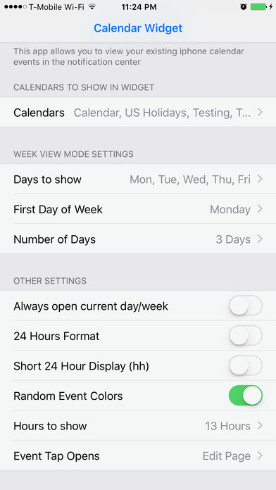 Week Cal Widget for iOS calendar Screenshots