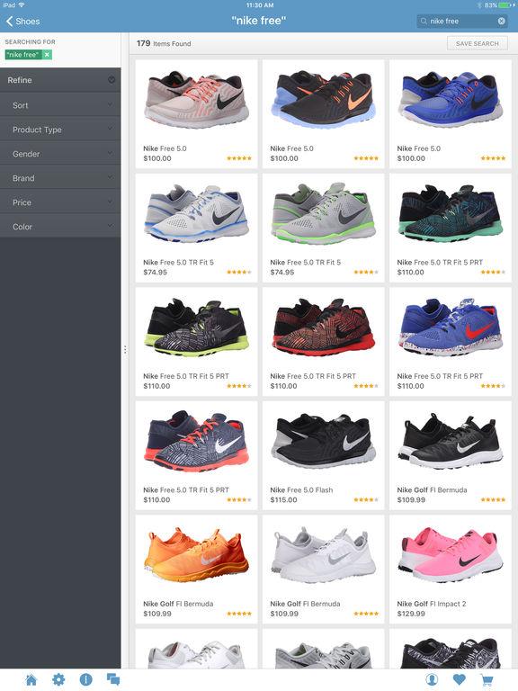 Screenshots of Zappos for iPad