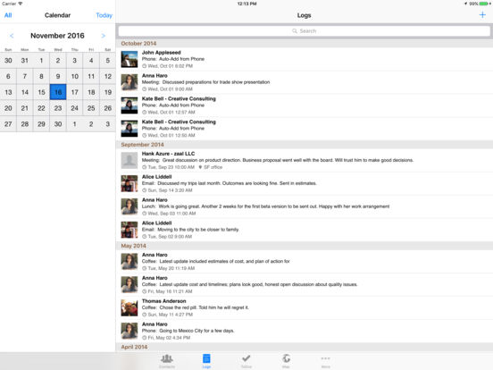 Contacts Journal - iPad Edition iPad Screenshot 2