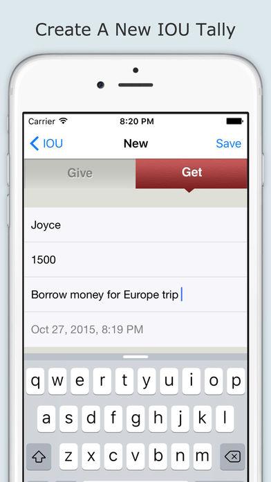 IOU App iPhone Screenshot 2