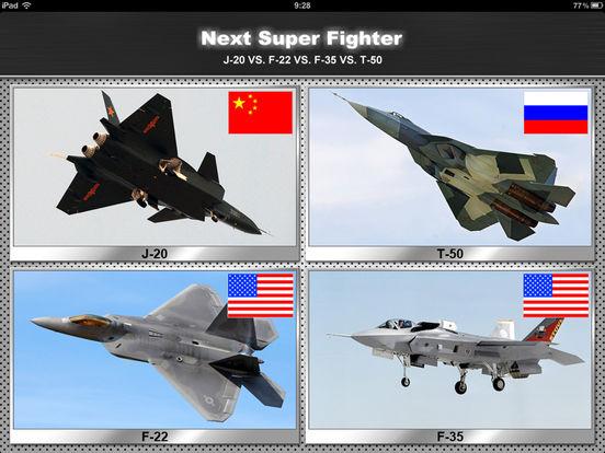 Next Super Fighter: J-20 VS. F-22 VS. F-35 VS. T-50 iPad Screenshot 1