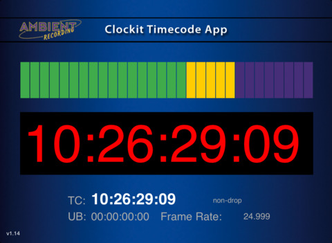 Clockit Timecode App iPad Screenshot 1