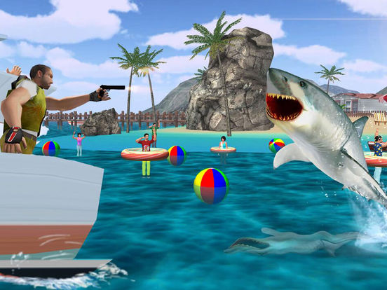 Shark attack revenge on innocent fisherman boats free for Shark fishing games