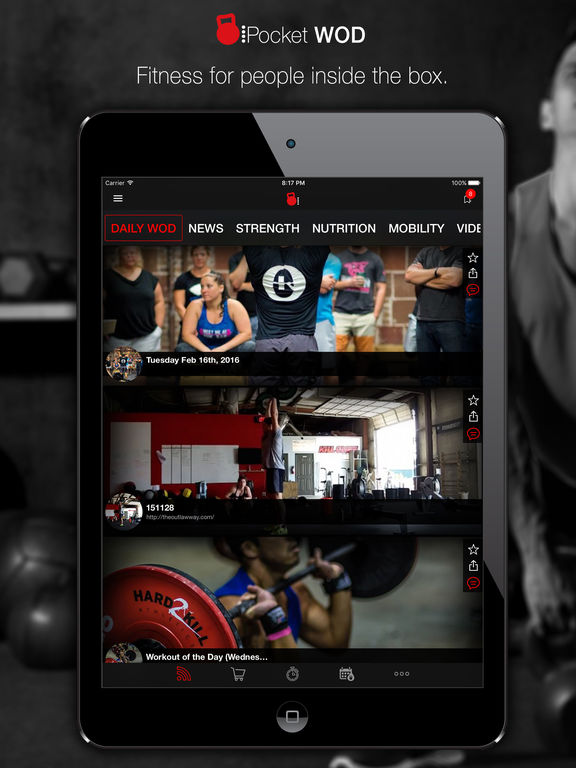 Pocket Wod 1 Crossfit Enthusiasts Fitness Exercise App Screenshot