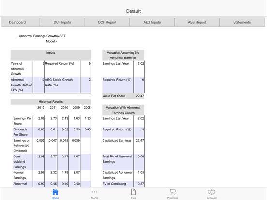 Financial Modeling Screenshots
