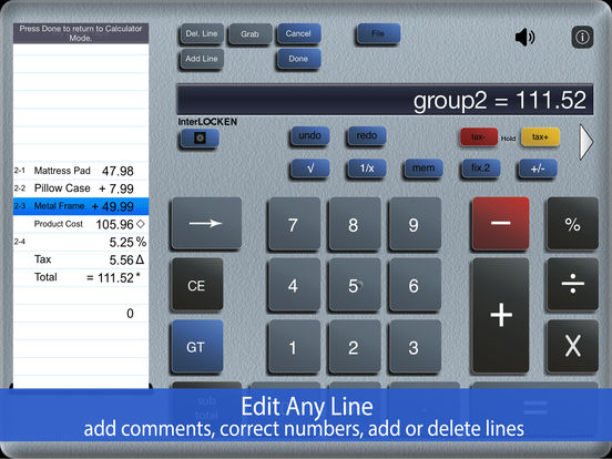 ✓ Accountant for iPad - adding machine calc calculator with paper tape iPad Screenshot 1