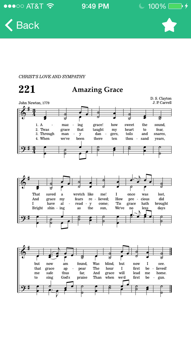 Hymnal SDA - Piano Sheet Music and Lyrics for iPhone, iPad, iPod