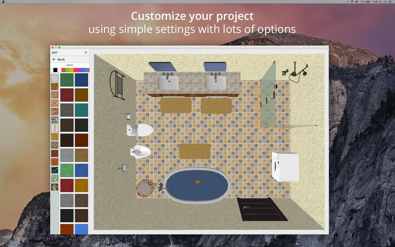 App shopper bathroom design 5d bathroom plans interior for Bathroom design 2d