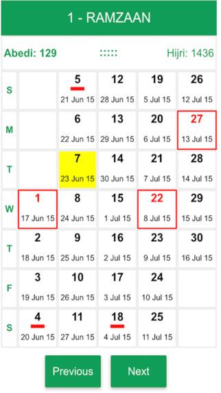 Abedi Calendar