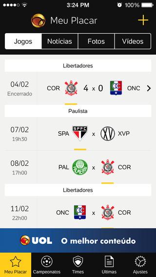 Placar UOL de Futebol para iPhone