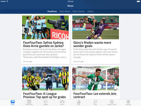 A-League Live for iPad