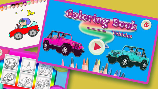 Coloring Book For Kids - Doodle Draw Vehicles By Finger Painting