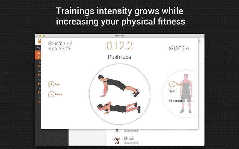培训日程安排每周训练应用程序在一个星期的体育锻炼健身 for Mac