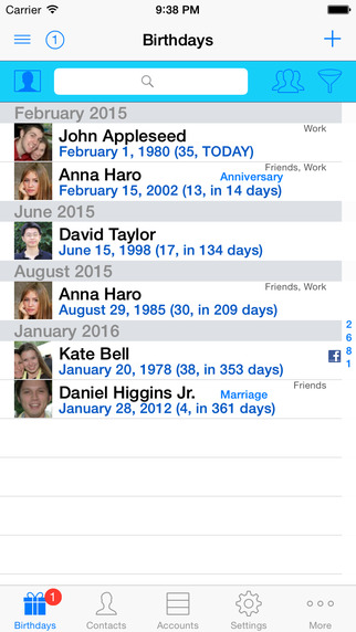 BirthdaysPro Lite for contacts XING VK and Odnoklassniki
