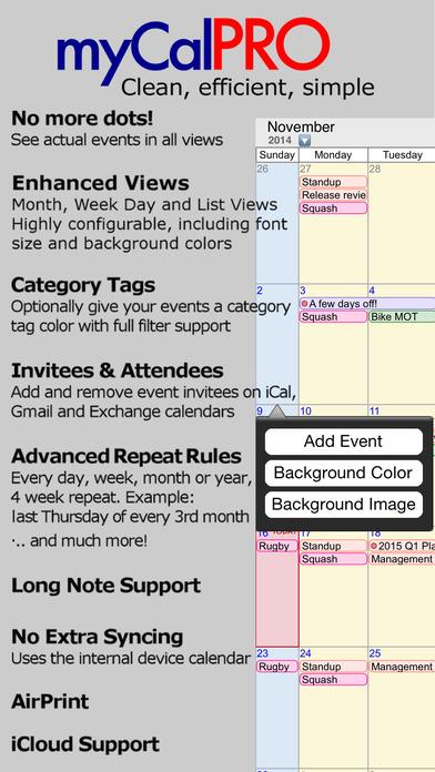 myCal PRO: Calendar & Event Organizer Screenshots