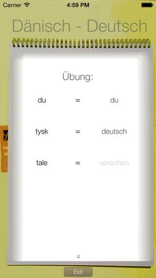 Vocabulary Trainer: German - Danish iPhone Screenshot 2